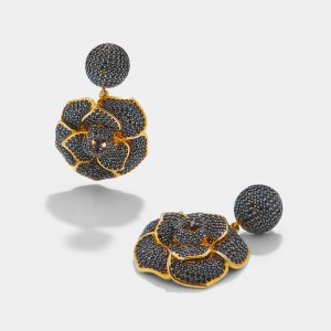 GOLD PLATED black ZIRCON FLOWER EARRINGS